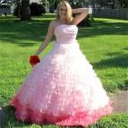 2017 Pink Princess Wedding Dresses Strapless Ball Gown