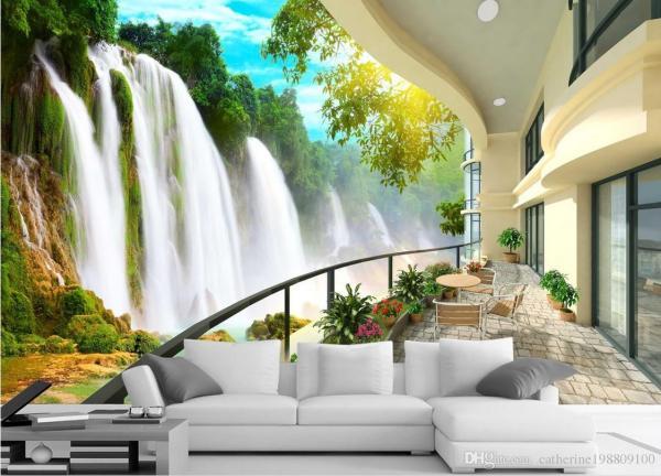 Hd Waterfall Landscape Tv Wall Mural 3d Wallpaper
