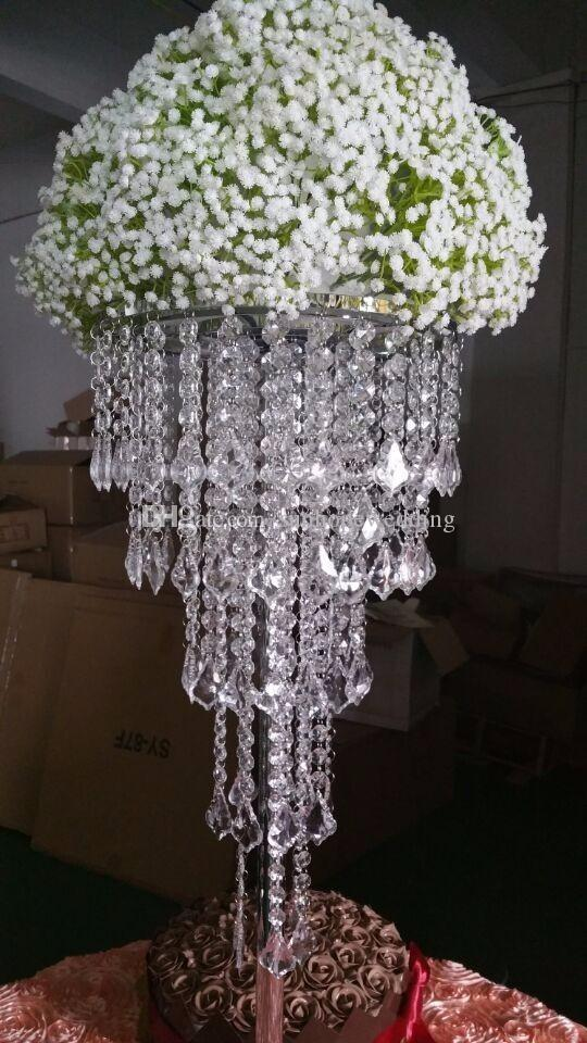 Tall Acrylic Plastics Bead Wedding Pillar Flower StandVase Centerpieces For Aisle Decoration