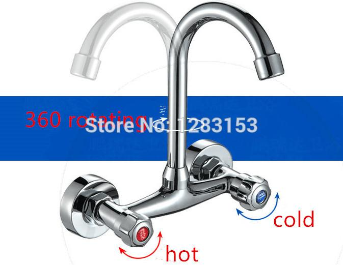 wholesale kitchen faucets commercial supply store 2019 double hands round bathroom sinks wall in taps hole mix water tap from likejason 56 89 dhgate com
