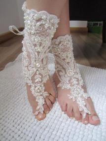 Ivory Lace Wedding Barefoot Sandals