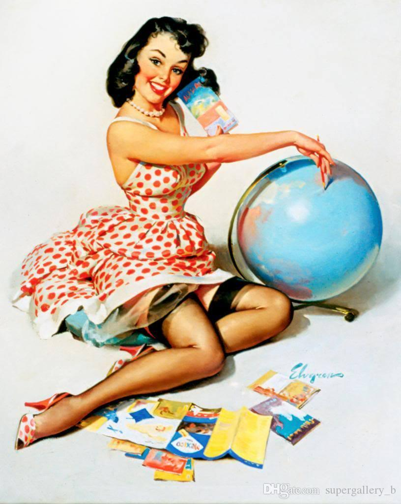 2017 Vintage Pinup Girl Gil Elvgren Hand Painted Art Oil Painting