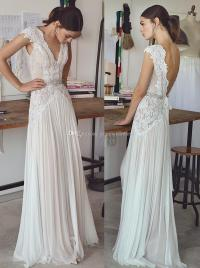 Discount Vintage Lace Beaded Wedding Dresses 2017 Simple A ...