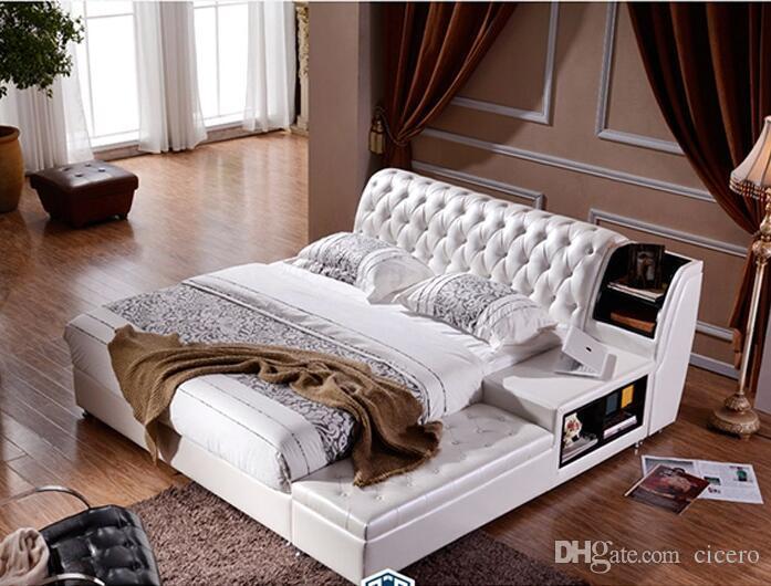 acheter beaucoup de couleurs designer moderne veritable cuir veritable lit lit moelleux lit double roi reine chambre a coucher meubles de maison vente