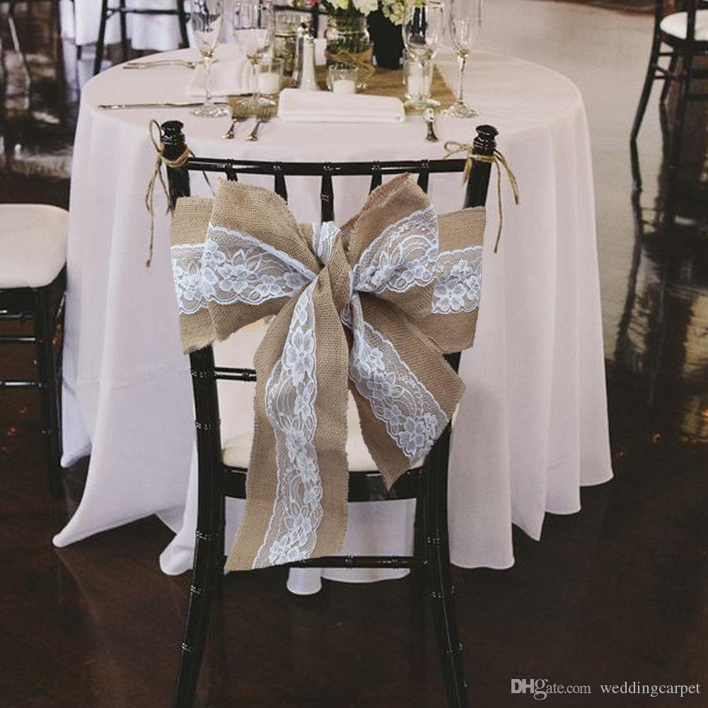 2017 240 X 15cm Lace Bowknot Burlap Chair Sashes Natural