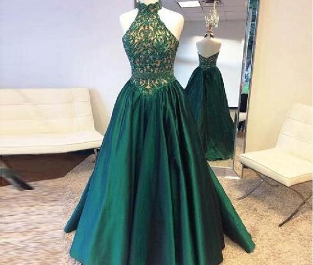 Halter  Emerald Green Taffeta Prom Dresses Sequins Lace Sexy Backless Real Photos Formal Evening Vestidos Pleats Homecoming Party Gowns Design Your Own