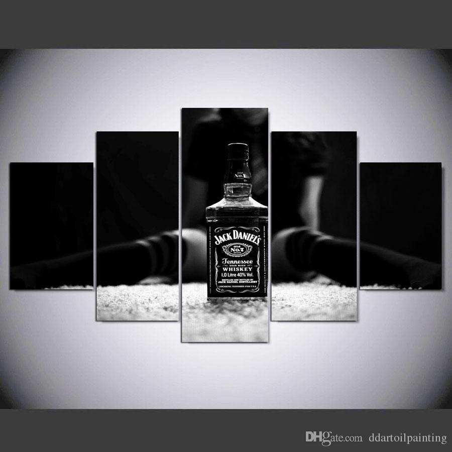2018 Large 60x32 5panels Art Canvas Print Jack Daniels Art