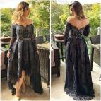 Navy Blue High Low Dresses with Sleeves