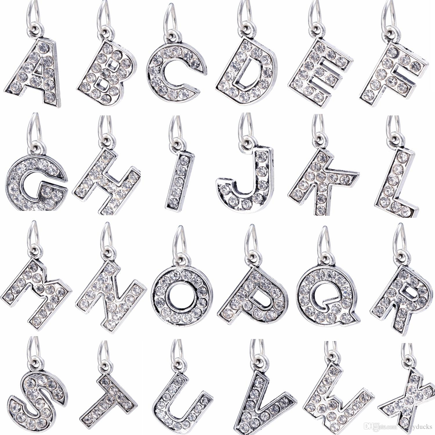 2017 26 Styles A Z Big Hole Bead Diy Metal Letter Silver