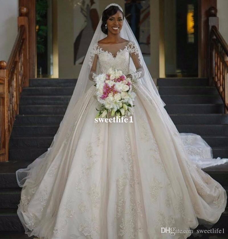 2017 Vintage African Wedding Dresses Long Sleeve Ball Gown Sequin Bridal Gowns Weding Dress