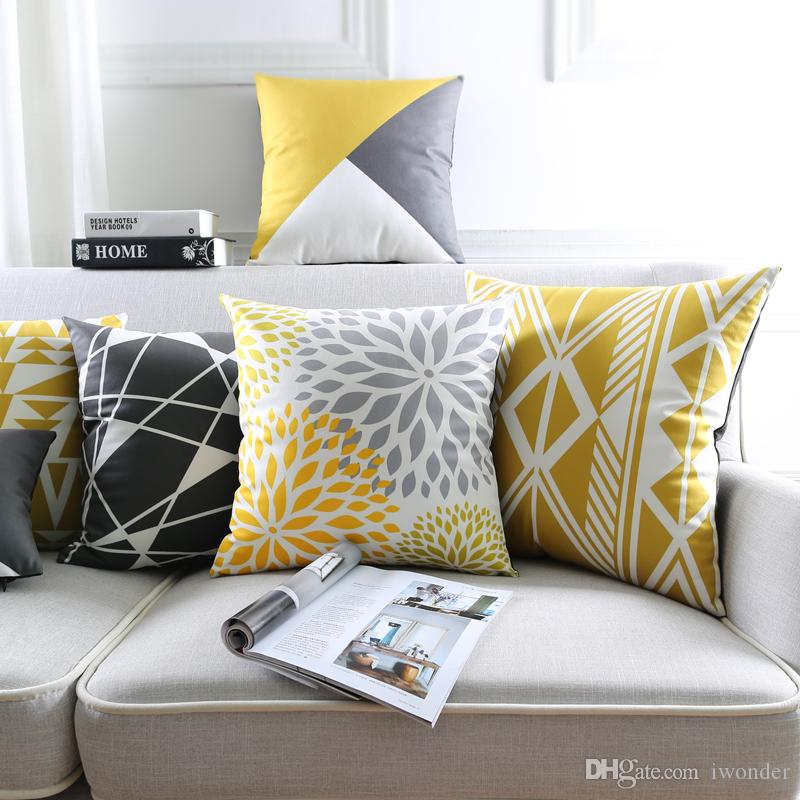 Black And Yellow Cushion Cover 9 Styles Simple Elegant