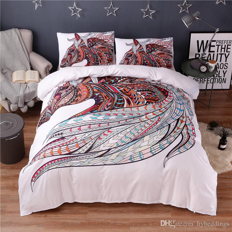 Colorful Horse Printing Abstract Bedding Set White Duvet