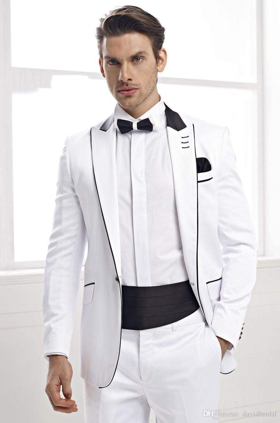 2017 White Men Wedding Suits Black Peaked Lapel Grooms