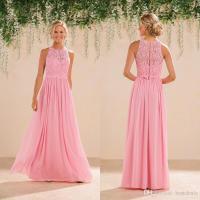 2017 Modest Peach Pink Lace Chiffon Long Bridesmaid ...