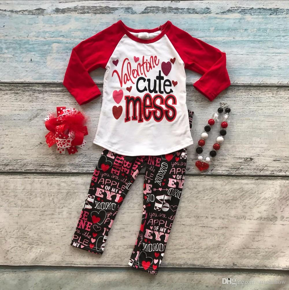 2019 Cotton ValentineS Day Boutique Baby Girls Outfits