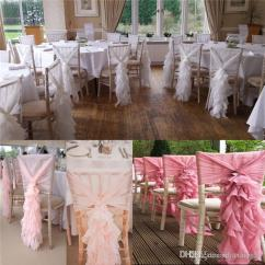 Cream Chair Covers For Weddings Small Kitchen Table And Chairs Two 2017 Link Organza Ruffles With Pink Ribbon Romantic Beautiful Sash Wedding Decorations Supplies Spandex Cover Gold Bridal