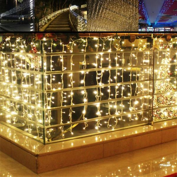 4m 96 Led Icicle Curtain String Light Patio Door Christmas Lights Outdoor Window