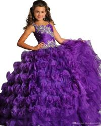Applique Beautiful Purple Glitz Pageant Dress For Girls ...