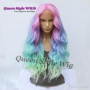 mermaid pastel rainbow hair wig