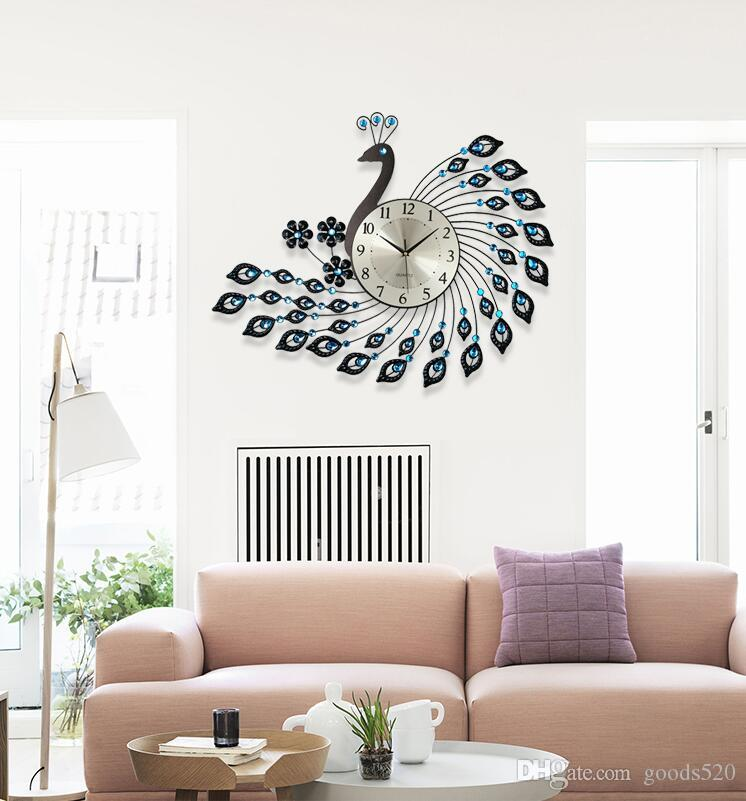 living room wall clocks leather decor for ideas peacock wrought iron clock with diamonds decoration