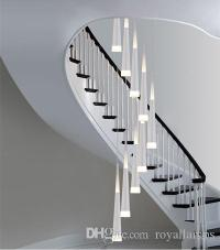 Long Stairway 9 Led Pendant Lights Spiral Led Stair ...