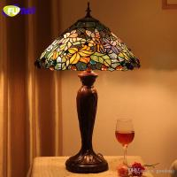 2018 Fumat Stained Glass Table Lamp European Style Flower ...