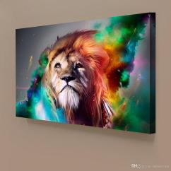 Modern Artwork For Living Room Traditional Pictures 2017 1 Panels Abstract Lion Colorful Painting Home Decor ...