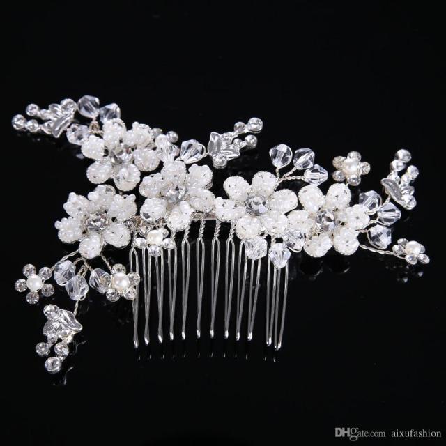 luxury heavy handmade pearl flower hair combs crystal bridal hair jewelry vintage wedding hair accessories women headpiece for bride