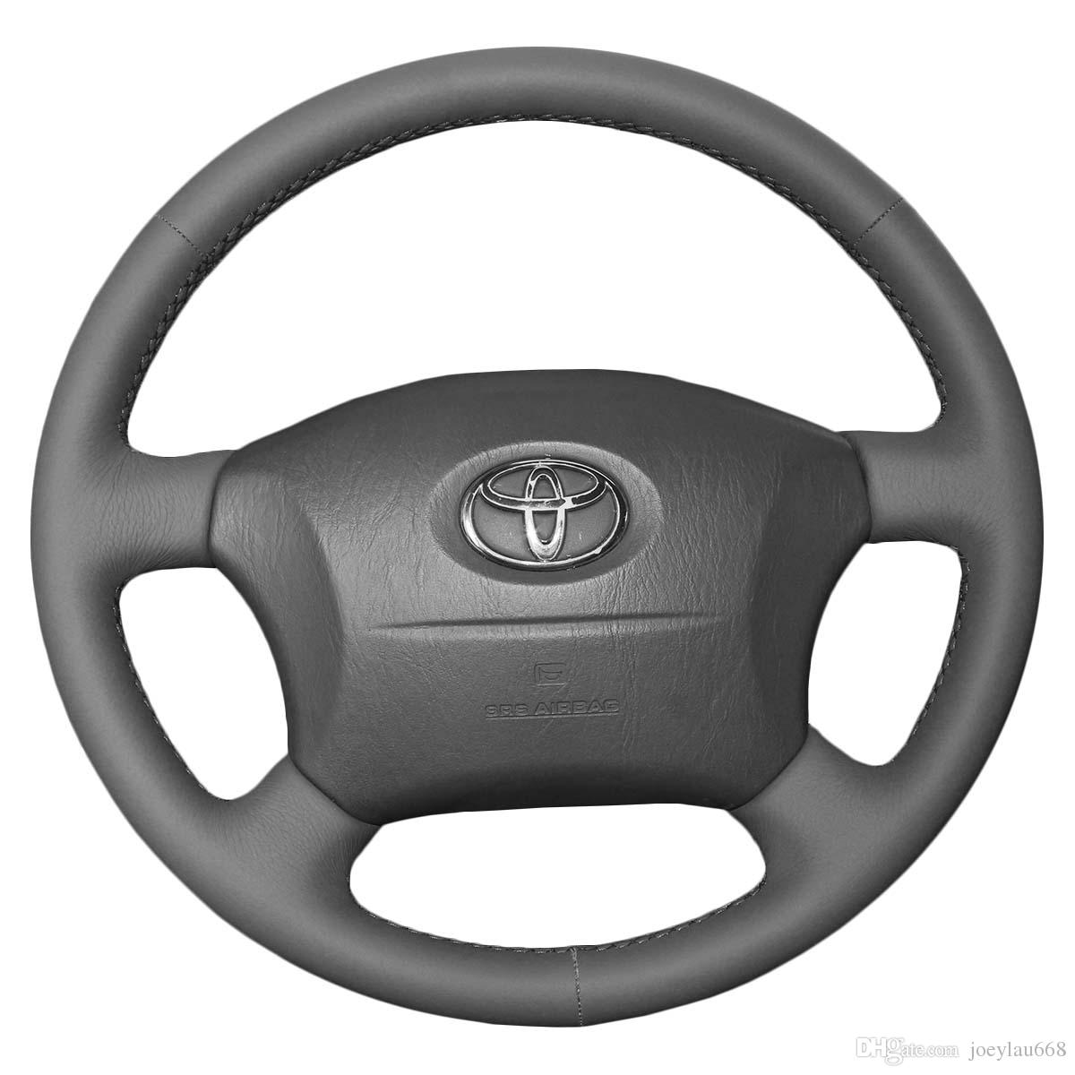 hight resolution of steering wheel covers case for toyota land cruiser prado old models genuine leather diy hand stitch car styling interior decoration go kart steering wheel