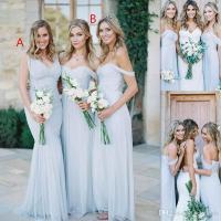Beach Bridesmaid Dresses 2017 Ice Blue Chiffon Ruched Off ...