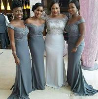 Cheap Off The Shoulder Grey Bridesmaid Dresses 2017 Plus ...
