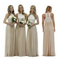 Sexy Long Champagne Chiffon Bridesmaid Dresses Lace Beach ...