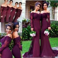 2018 Burgundy Maroon Mermaid Bridesmaid Dresses Off ...