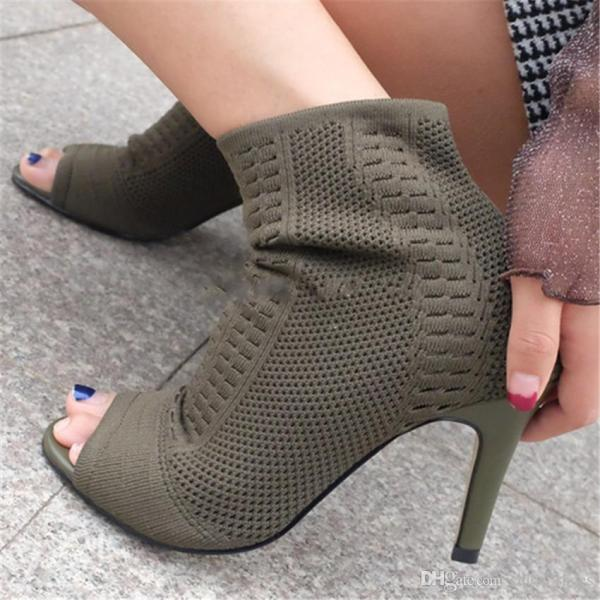 Green Knitted Women Ankle Boots Stretch Peep Toe Sock