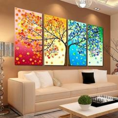 Wall Frames For Living Room White Accessories Four Seasons Tree Canvas Art Decoration Picture Print Family Cheap Banksy Posters Best Painting Mountains Scenery Landscape