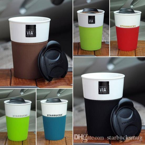8oz Capacity Ceramic Starbucks Coffee Mug With Push Lid