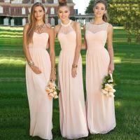 Elegant Long Navy Light Pink Bridesmaid Dresses 2017 ...