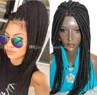 Synthetic Hair Box Braid Lace Front Wigs Heat Resistant ...