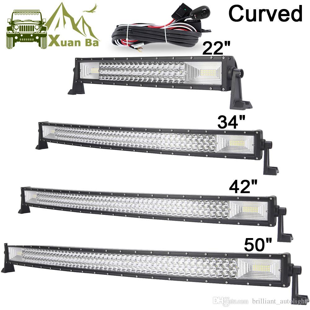 medium resolution of 22 42 50 inch tri row curved cree led light bar offroad work lights combo beam truck suv atv 4x4 4wd utv rzv trailer driving barra lamp