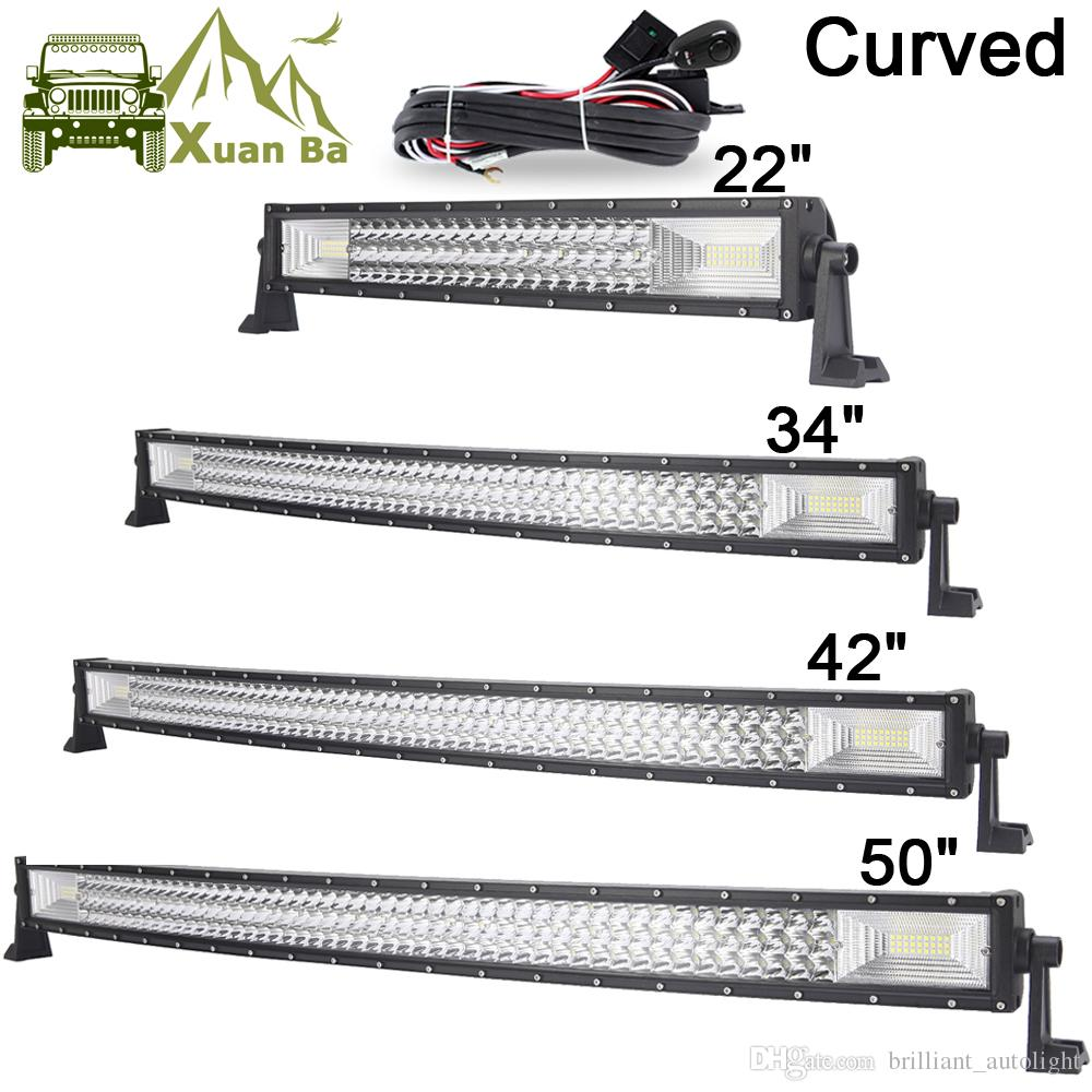 hight resolution of 22 42 50 inch tri row curved cree led light bar offroad work lights combo beam truck suv atv 4x4 4wd utv rzv trailer driving barra lamp