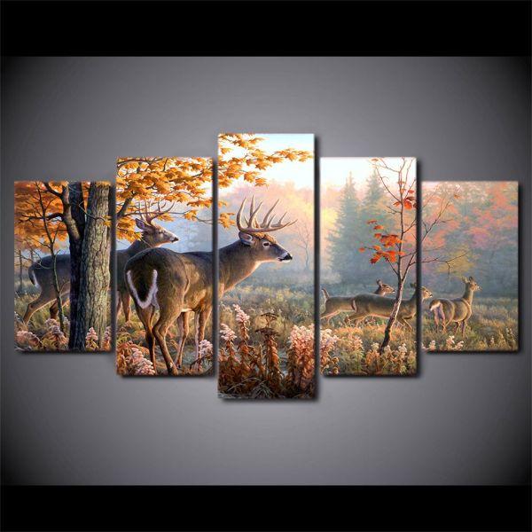 5 Piece Canvas Wall Art Deer
