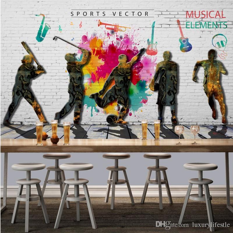 3d Wallpaper For Walls Price 3d Fashion Retro Graffiti Sports Music Theme Restaurant
