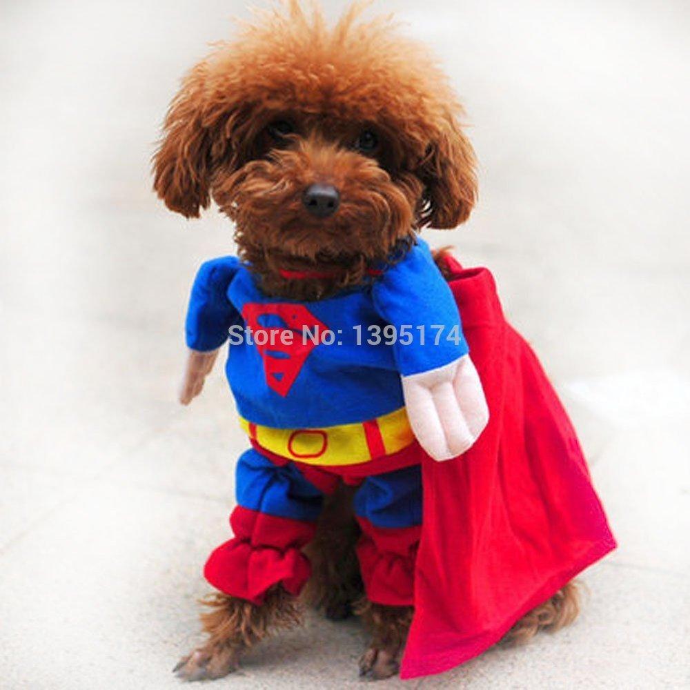 2017 Cute Pet Cat Dog Clothes Superman Costume Suit Puppy
