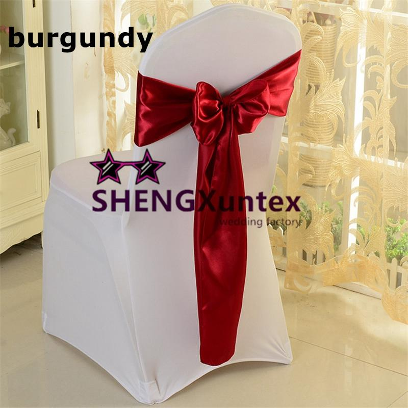 burgundy chair covers wedding mats for carpeted floors color satin sash bow used 100pcs cover