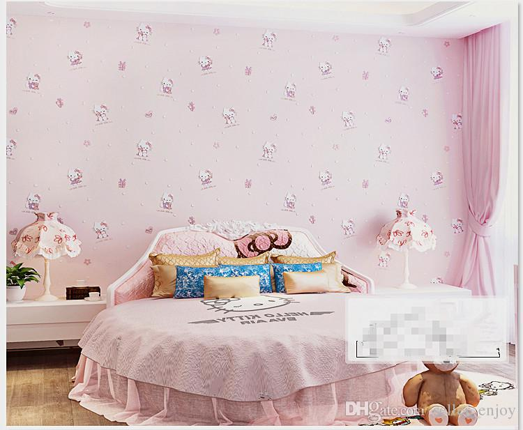 Baby Girl Wallpapers For Rooms Hello Kitty Style Cartoon Wallpaper Non Woven Eco Friendly
