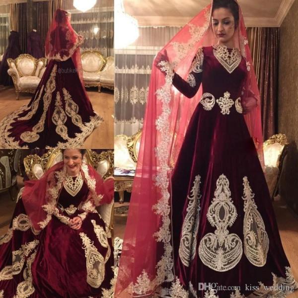 Charming Velvet Dress Muslim Wedding Gown Long