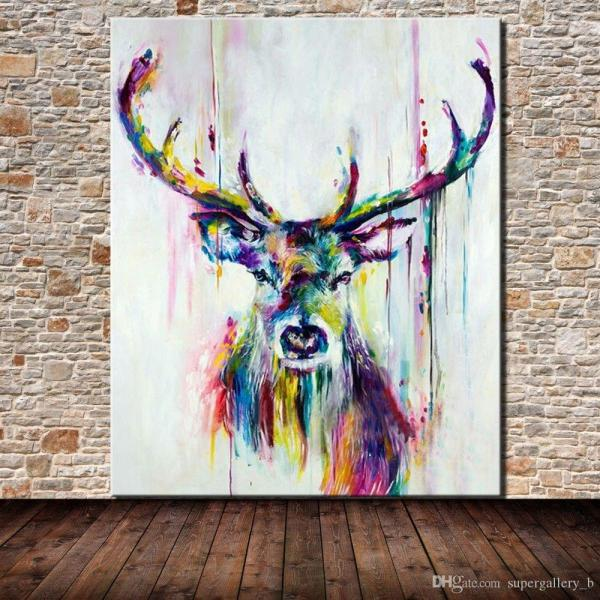 2019 Framed 100 Hand Painted Modern Abstract Animal Art Painting Deer Home Wall Decor High