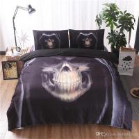 Halloween 3d Skull Black Bedding Set Hd Skulls Quality ...