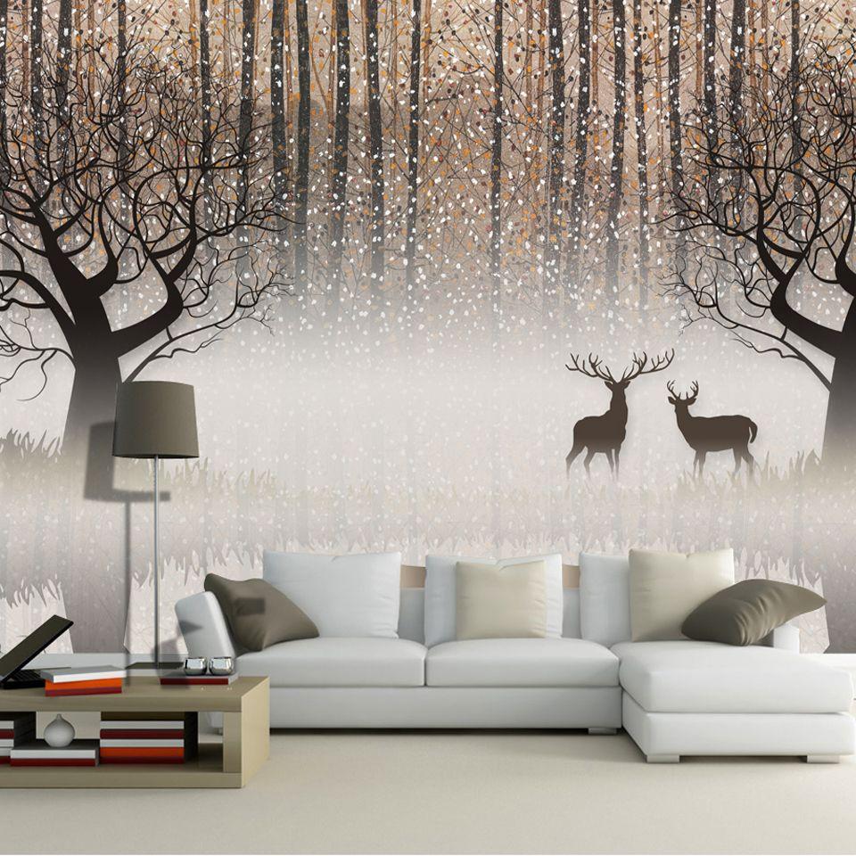 Wall Mural Vintage Nostalgic Dark Forest Elk 3d Tv
