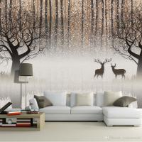 Wall Mural Vintage Nostalgic Dark Forest Elk 3d Tv ...